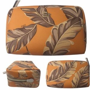 Coach Boxy Banana Leaves Print Cosmetic Case